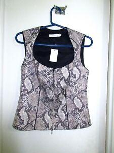 3aa9e08eabdd1 Anne Fontaine 40 6 Snakeskin Print Zip Sleeveless Vest Blouse Snake Skin  Superb!