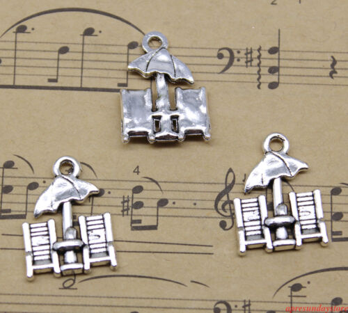 antique silver finish 8 Beach Chairs charms 20x15mm