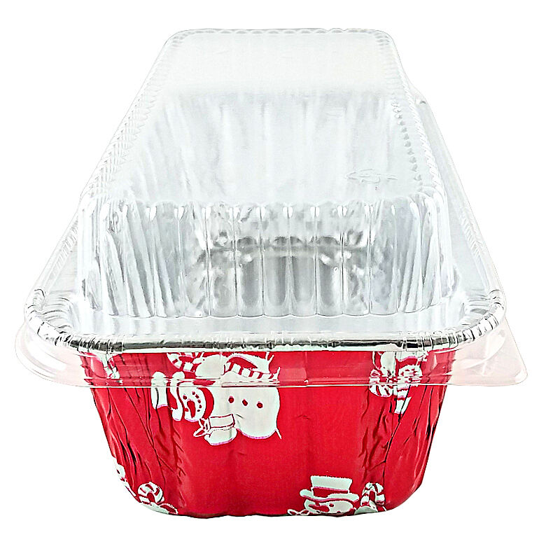 Handi-Foil 2 lb. Red Snowman Holiday Christmas Loaf Bread Pan w/Clear Dome Lids 23