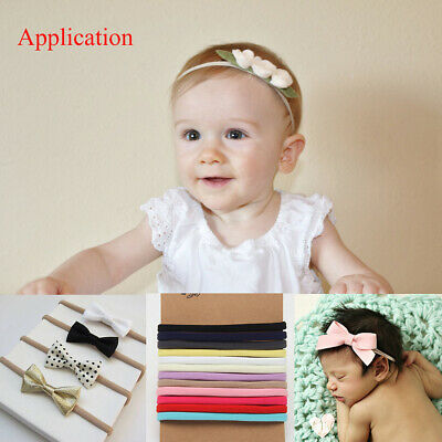 10PC Soft Nylon Headband Skinny Stretchy Hair Bands Kids DIY Hair Bows Headbands