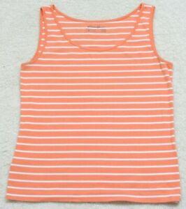 Tank-Top-T-Shirt-Sleeveless-Eddie-Bauer-Orange-amp-White-XL-X-Large-Cotton-Spandex