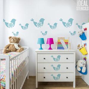 Dettagli su Uccello Vivaio Stampo Camera da Letto Bambina Decorazione  Vernice Casa Muri