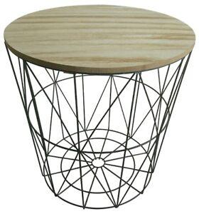 Détails sur Table D\'Appoint Clara Métal Panier Table Basse Table Basse  Design Bois Korbtisch