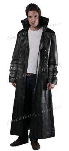 Gothic Van Helsing Genuine Cowhide Leather Goth Matrix Trench Coat for Men #570