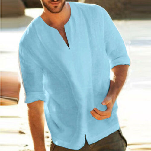 Mens Casual Long Sleeve Cotton+Linen Blouse Loose Henley V-Neck Tops T-Shirts US