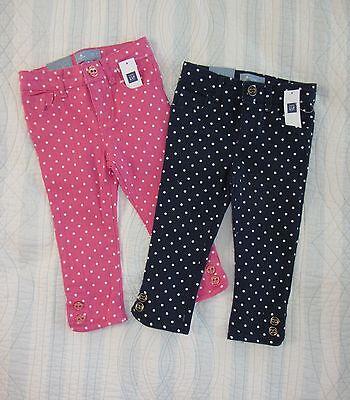 NWT BABY GAP Skinny Jeans Baby Girl 12 18  2T Blue Pink Polka Dots Denim Pants
