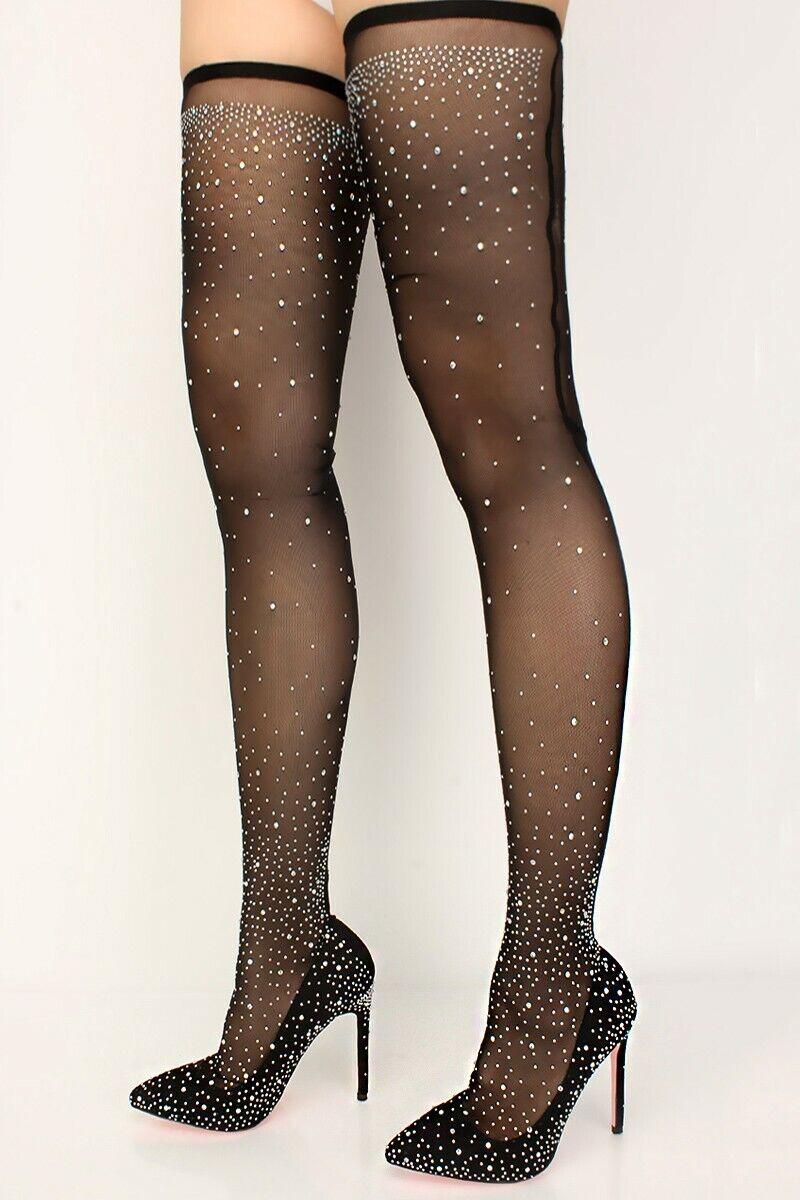 10 Black Thigh High Heel Rhinestone Mesh Stocking Thigh High Boots N I B