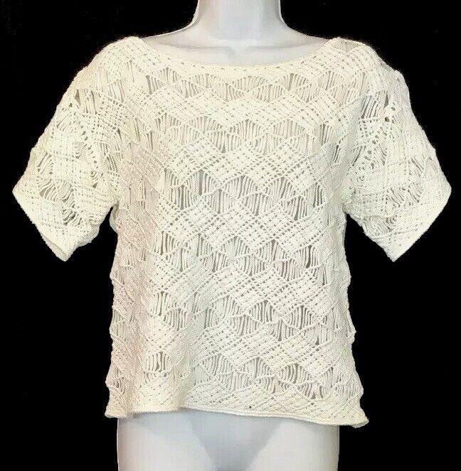 Ralph Lauren schwarz Label Top Weiß Short Sleeve Hand Knit Größe M