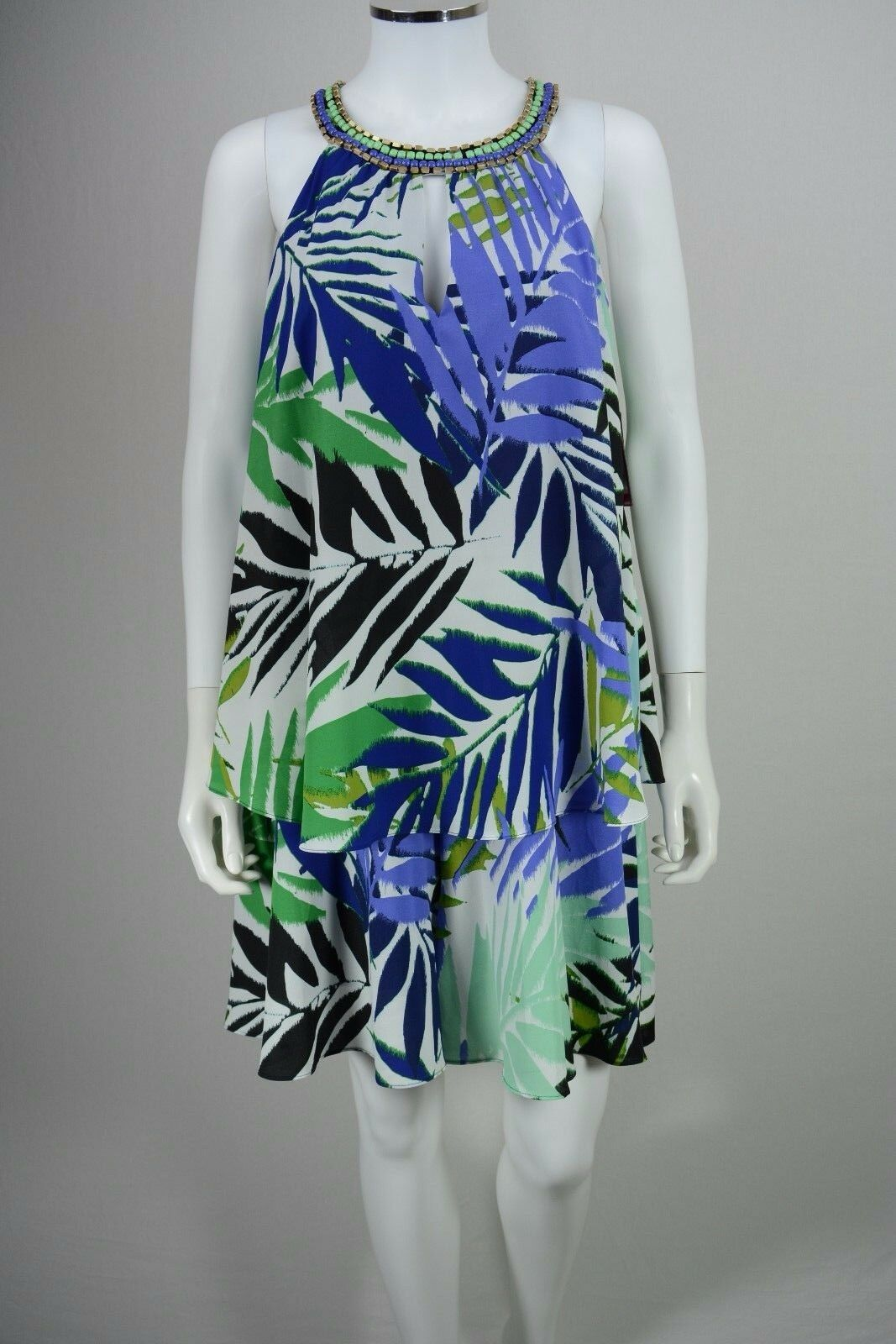 Women's Vince Camuto size 8 bluee Floral Beaded Halter Romper Skort Dress NWT