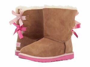 New-UGG-Bailey-Bow-II-1017394K-Chestnut-Pink-Azalea-Toddler-Girl-Size-7