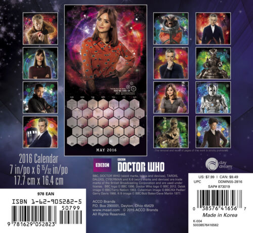 Doctor Who TV Series 16 Month 2016 MINI Wall Calendar NEW SEALED