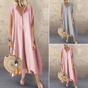 UK-Women-Short-Sleeve-Button-V-Neck-Beach-Dress-Casual-Striped-Maxi-Sundress
