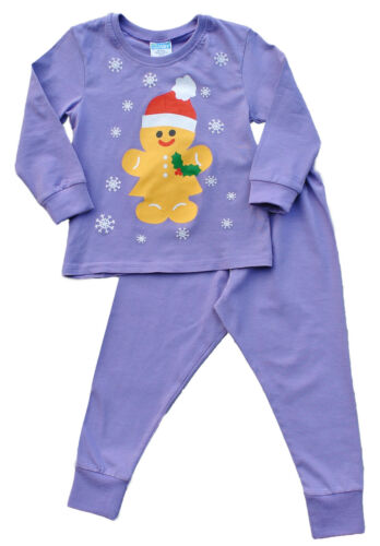 Girls Gingerbread Santa Christmas Novelty Pyjamas 2-6 Years