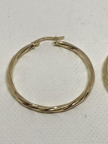 9ct oro amarillo macizo de 375 ley 30mm pendiente Hoop