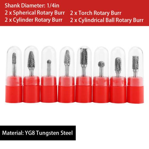 8x Rotary Burr Set Head Tungsten Carbide Burrs 1//4/'/' Shank Die Grinder Bit Tool