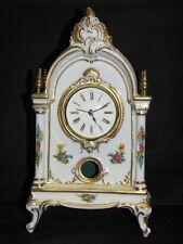 Porzellanuhr von Dresden, Kaminuhr, Handgemalt, im Rokoko Stil