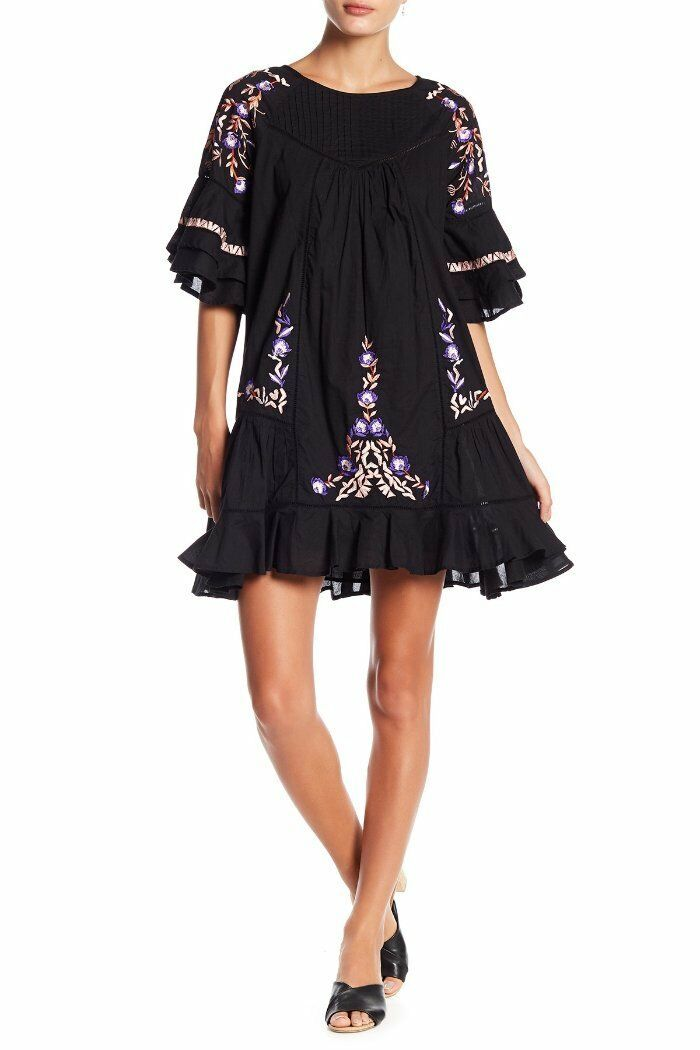 Free People schwarz Floral Embroiderot Pavlo Mini Shift Dress XS 0 2 NEW F494