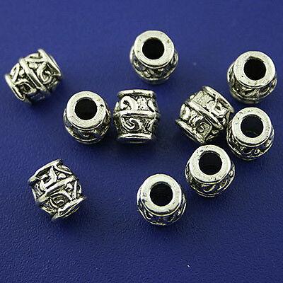 25pcs Tibetan silver eyed barrel spacer beads H1252