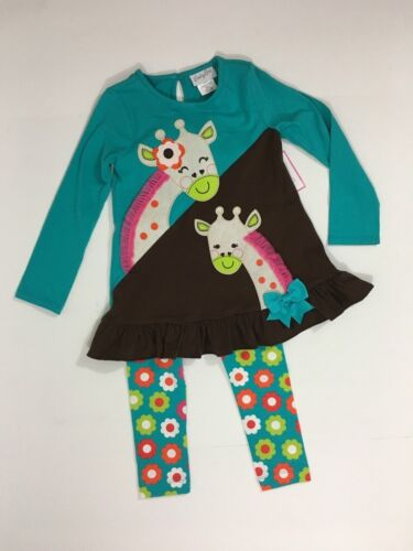 Emily Rose NWT 2T 4 5 Boutique Giraffes Flowers Tunic Dress Legging Outfit ZOO