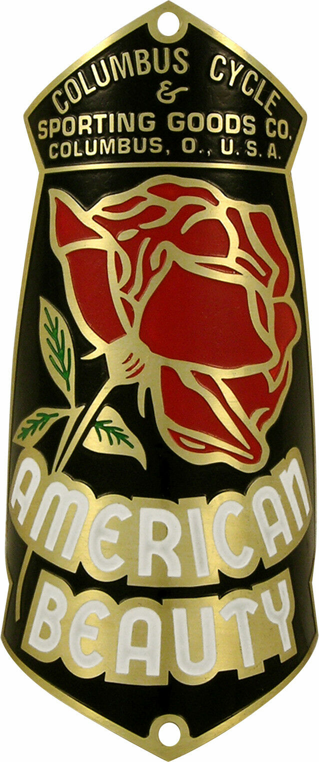 American Beauty Bicycle Badge Emblem 1940s - 1950s ACID ETCHED Brass