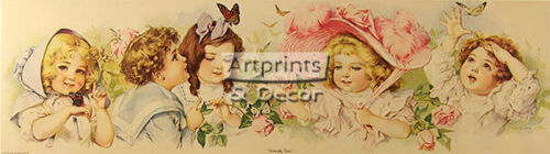 34 x 9.5 Butterfly Time by Maud Humphrey : Art Print* of Vintage Art :