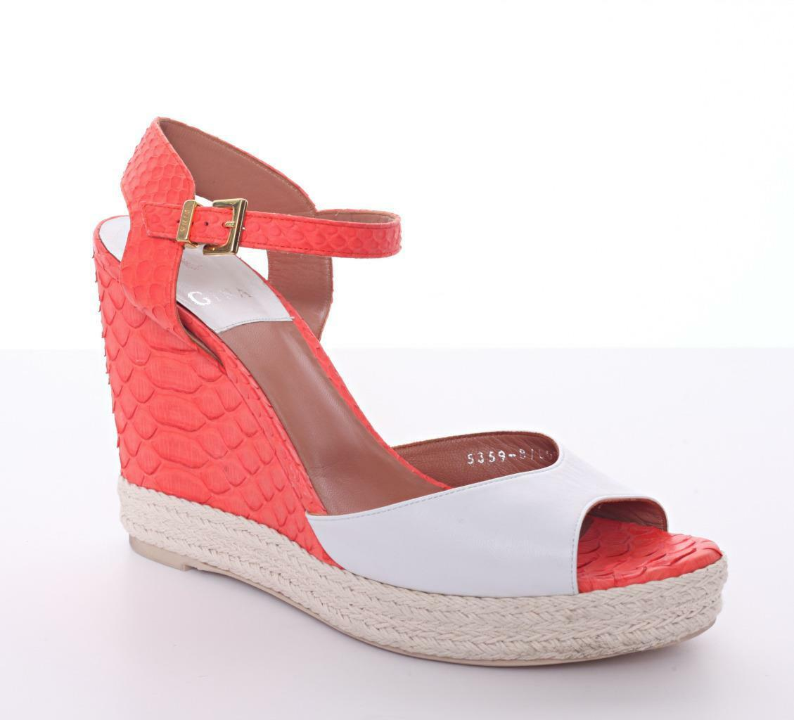 GINA White Leather & Coral Snakeskin High Heel Strappy Wedge Sandal shoes 11-41