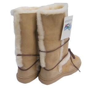 Natural Beige Tall Ugg Boots Aus Sheepskin Rubber Sole