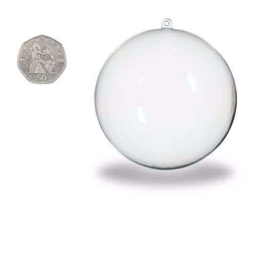 120mm 2 part Spheres Baubles Craft Decoration Clear Plastic Acrylic Balls 50mm