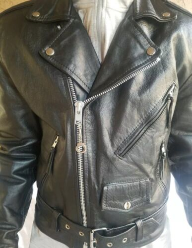 WILSONS LEATHER Motorcycle Jacket Sz S/Small Black