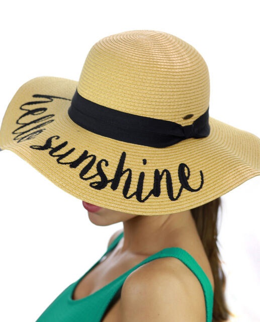 Paper Weave Crushable Beach Embroidered Quote Floppy Brim Sun Hat ... bbfe8daf2a3