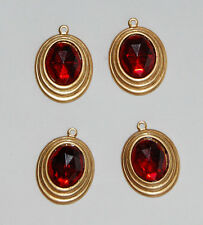VINTAGE 4 AGED BRASS OVAL BEAD PENDANT RUBY RED PATCHWORK GLASS 17 x 15mm
