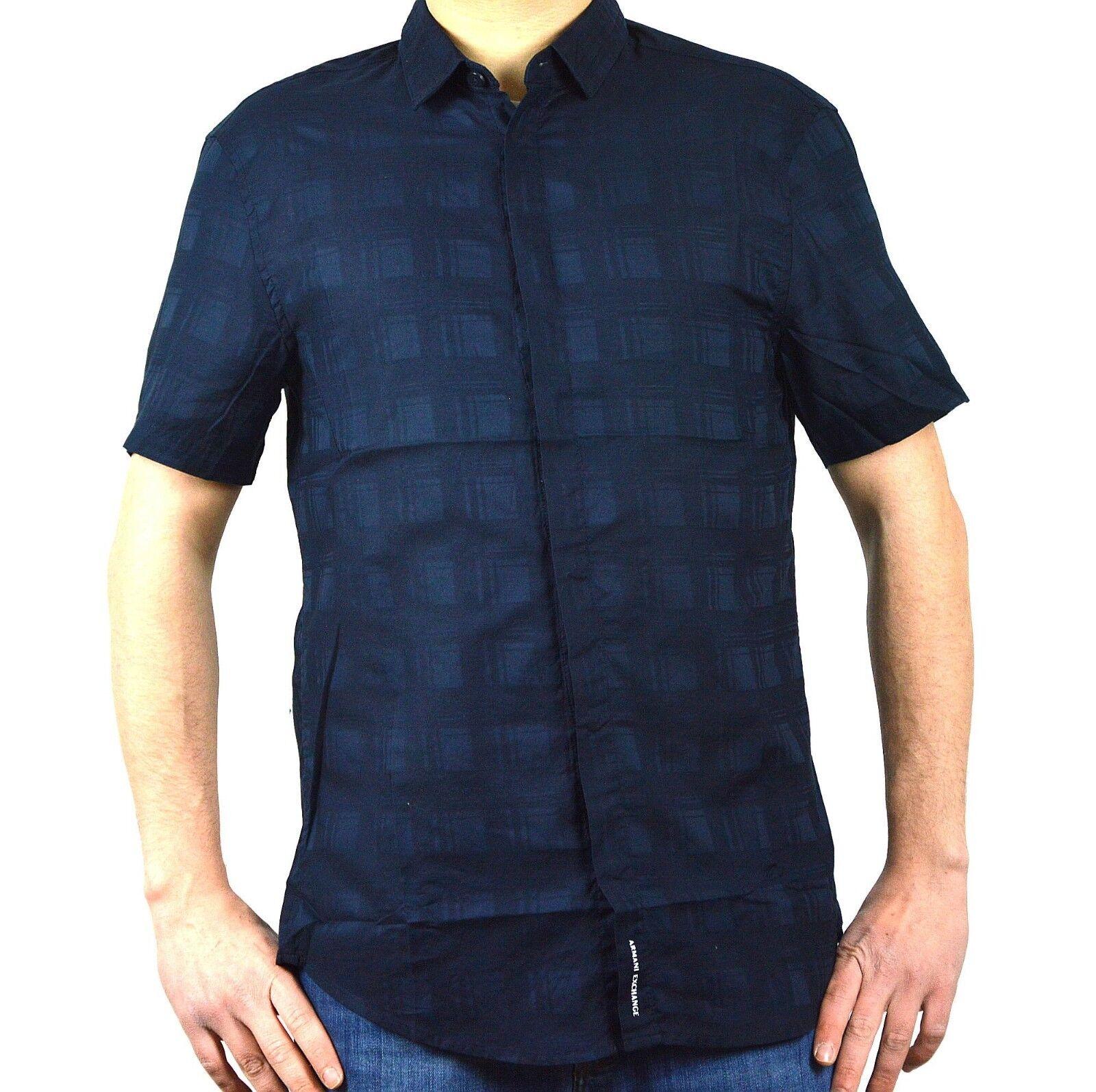 AX ARMANI EXCHANGE camicia uomo manica corta colore blu regular fit 3ZZC19