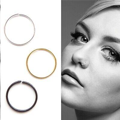 Nose Ring Hoop Anodized Steel Seamless Septum Rook Snug Piercing