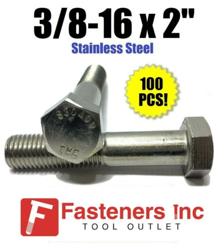 """304 Bolt 18-8 3//8-16 x 2/"""" Stainless Steel Hex Cap Screw Qty 100"""
