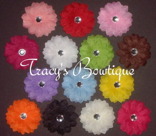 "14 Girls Daisy 2/"" Mini Flower Hair Clips Bows for Interchangeable Headbands Hats"
