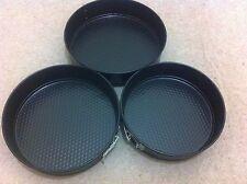 SET OF 3 NON STICK SPRINGFORM CAKE TINS PAN BAKING BAKE TRAY ROUND 24/26/28CM