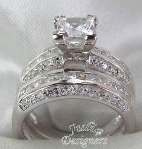 Image Is Loading 2 53ct Princess Cut Engagement Wedding Ring Set