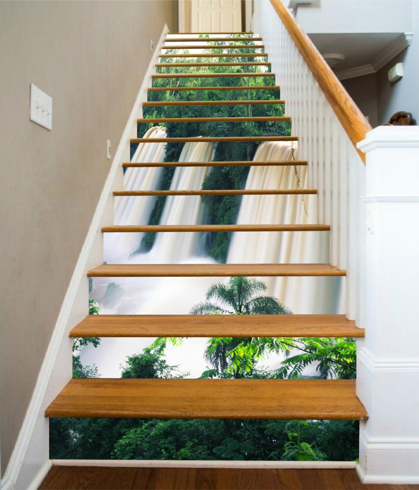 3D Gro Wasserfall 7Stair Risers Dekoration Fototapete Vinyl Aufkleber Tapete DE