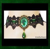 - Black Lace & Green Velvet Victorian Gothic Bronze Choker Pendant Necklace