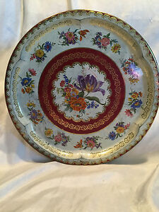 Vintage Daher Decorated Ware Floral Pattern Tin Tray 12 1 2 Made