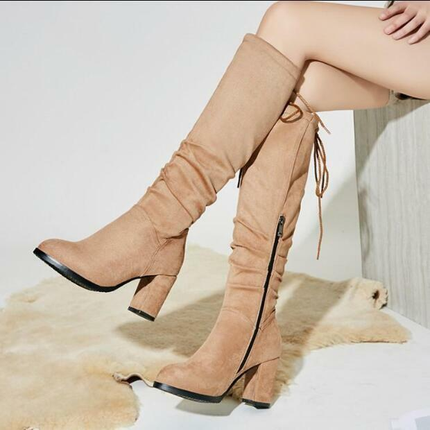 Womens Winter Knee High Boots Round Toe Side Zip Chunky High Heels shoes Knight