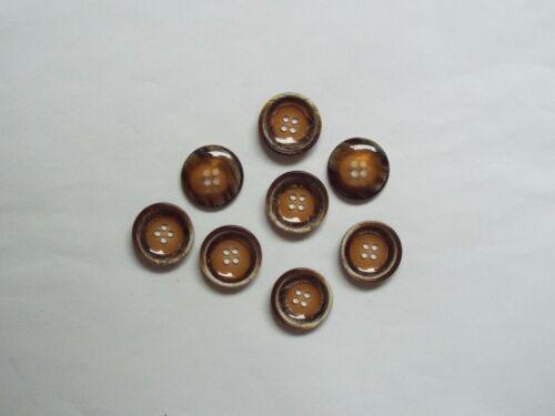 8pc 20 mm opaque bois synthétique marron Shell Manteau Suit Cardigan Knitwear Bouton 5197