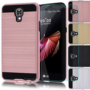new arrival e3262 dfbb1 Details about Hybrid Hard Case Armor Cover + Tempered Glass Film for LG X  Screen K500N Phone