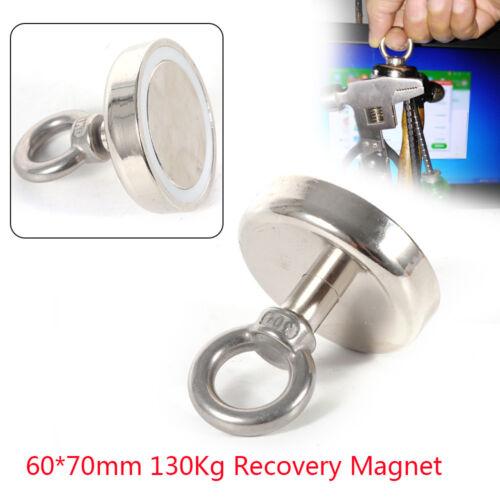 286 lbs//130Kg 60x70mm FISHING MAGNET Super Strong Neodymium Round Thick Eye bolt