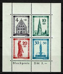 BADEN-FRENCH-OCCUPATION-ZONE-Mi-Block-1A-mint-MNH-stamp-sheet-CV-90-00