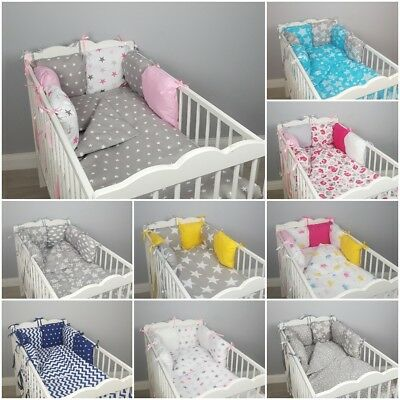 PILLOW BUMPER made form 6 cushions for cot// cot  bed  BIG GREY STARS  BABY PINK