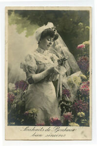 c 1910 Glamor Glamour WEDDING BRIDE Marriage French photo postcard