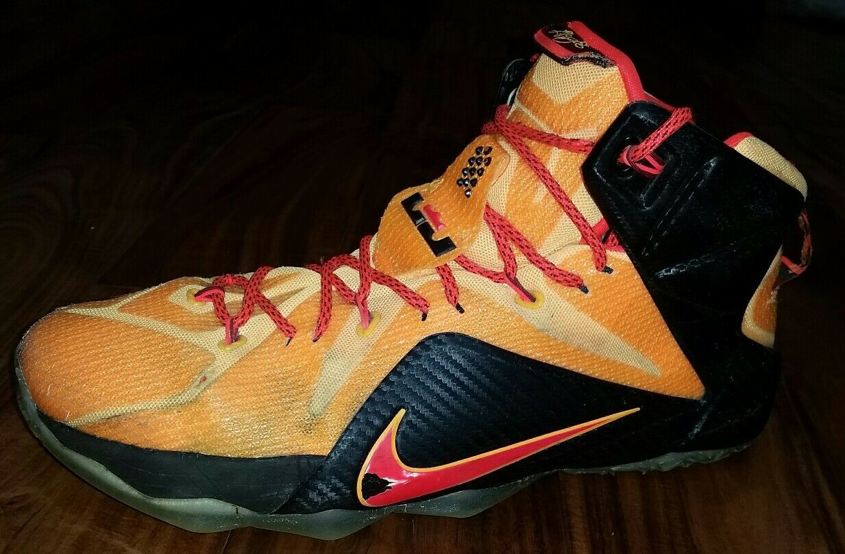 Nike Lebron James XII Cleveland Witness orange Basketball shoes Mens 13 684593