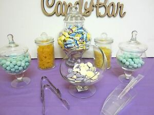 6-SET-BELLA-Candy-Lolly-Buffet-Glass-Jars-Wedding-Party-Free-Tongs-amp-Scoops