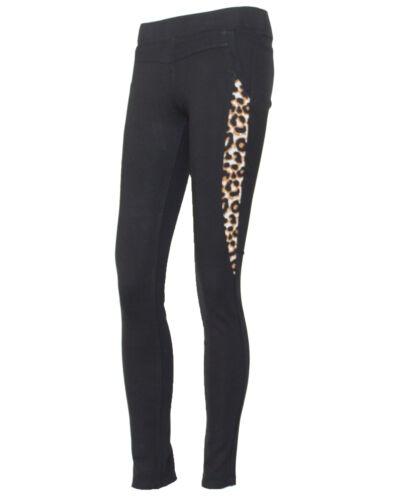 NUOVO Donna Nero Elastico Leopardato Jeans Jegging Legging PANTALONE Taglia 6-14